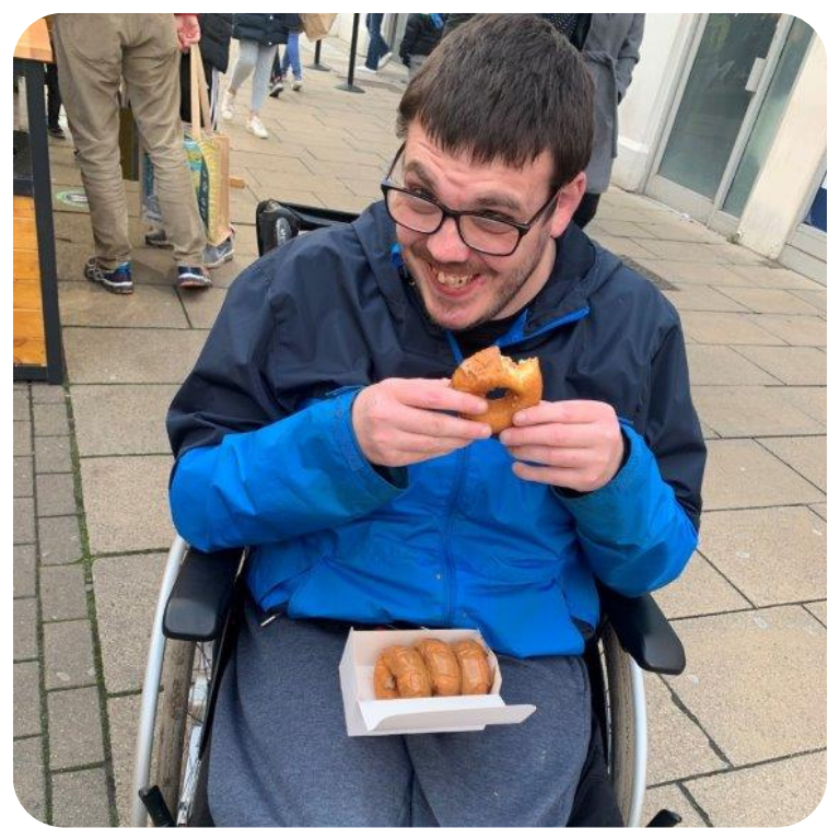 Enjoying a quick snack in town
